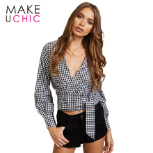 MAKEUCHIC Apparel Classic Look Plaid Women Shirts 2017 New Fashion Cross Deep V-neck Blouse Sexy Hem Drawstring Short Lady Tops