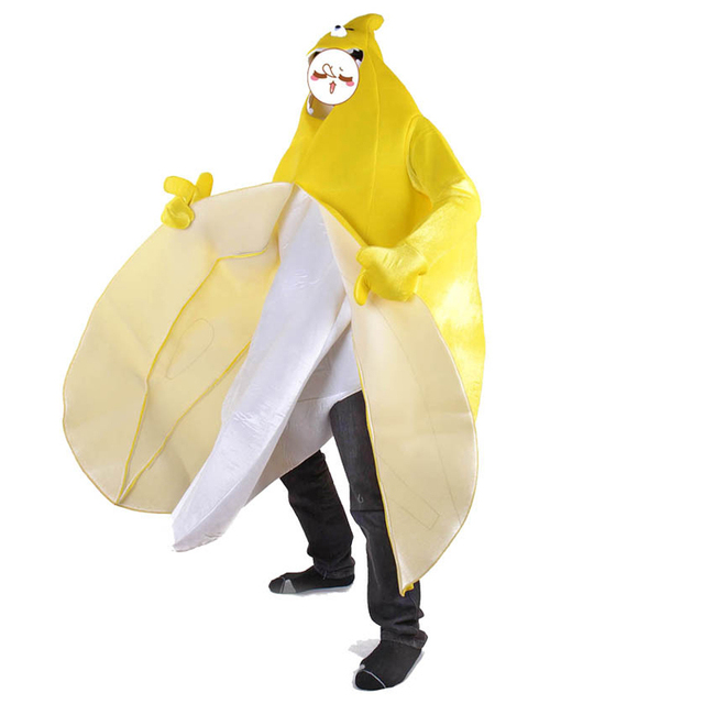2018 New Halloween Cosplay Costumes Adult Oblique Banana Costume Funny Dress HeadPlay Bad Banana Carnival Costume Unisex Outfits