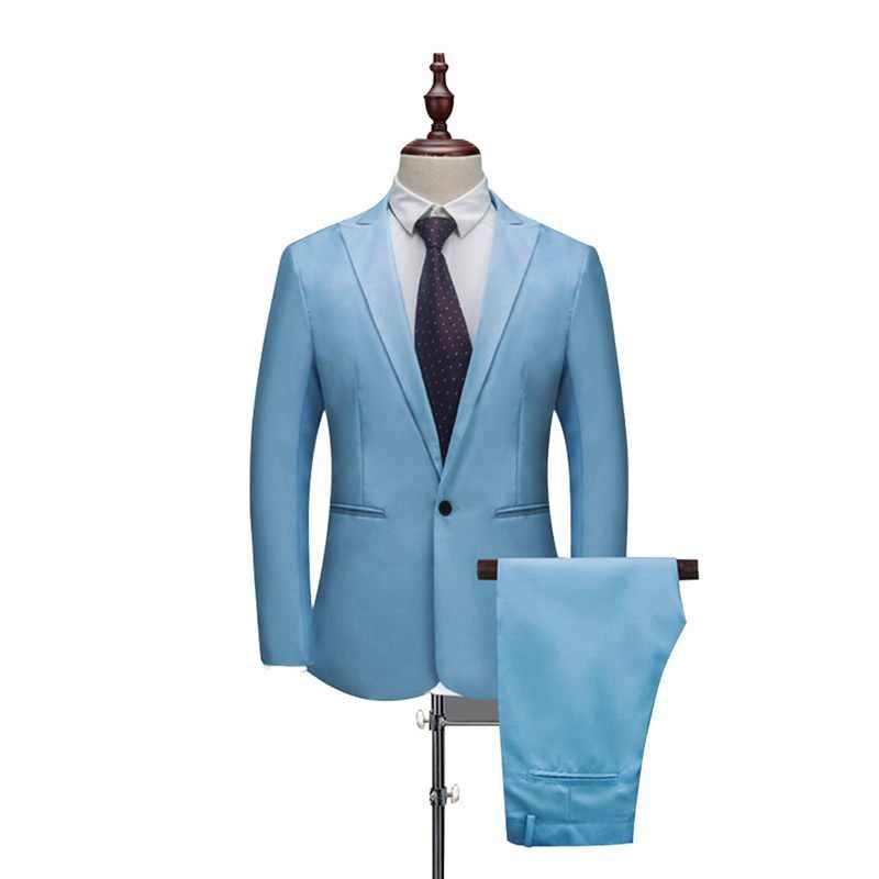 Mjartura nuevo hombre primavera y otoño sección delgada Color puro novio esmoquin trajes de boda (chaqueta + pantalón) Casual Delgado ajuste 2 piezas