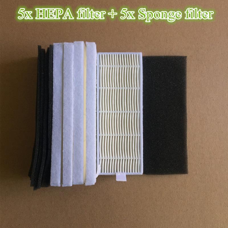 5x Robot HEPA filter + 5x Sponge Filters replacement for kitfort KT-519 kt 519 kt519 Robotisc Vacuum Cleaner kitfort robotic vacuum cleaner parts 2x hepa filter 2x sponge filter replacement for kitfort kt 519