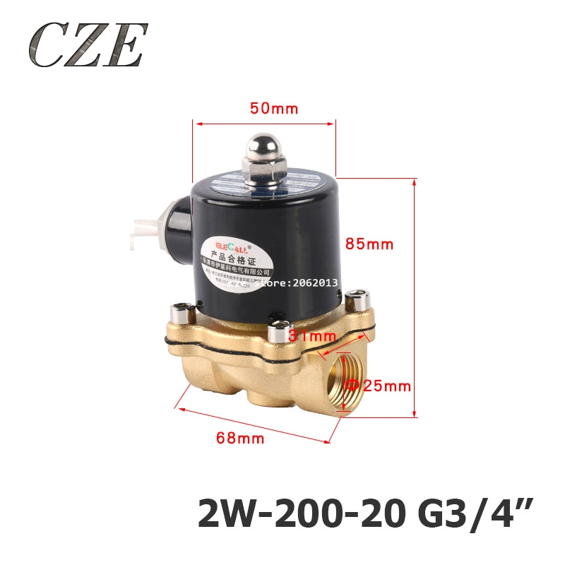 v 3 20 0 140 4 2W-200-20 G3/4 AC220V DC12V DC24V Copper Water Electromagnetic Valve Solenoid Valves Normal Close
