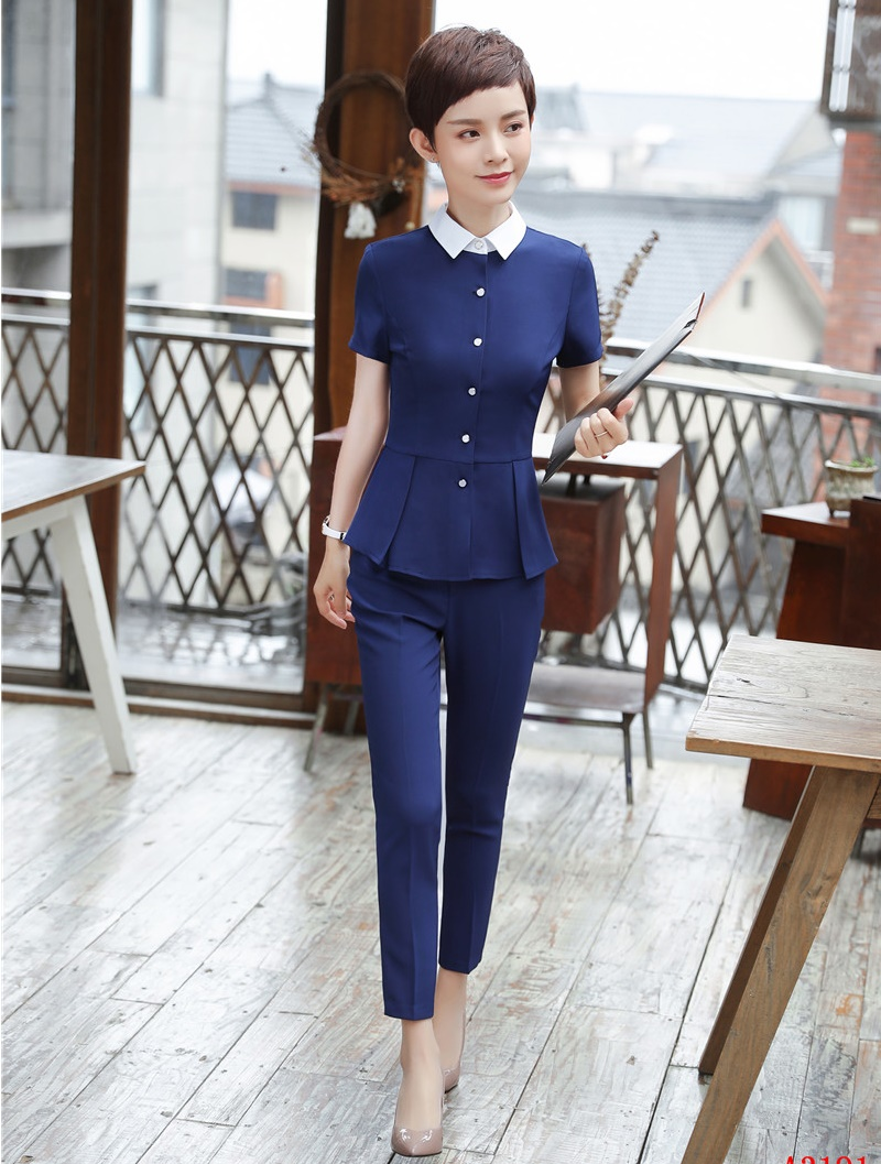 Fashion Two Piece Women Business Suits With Pant And Jacket Set Blue Tops Ladies Work Wear Office Uniform Designs Styles Bright Luster Back To Search Resultswomen's Clothing