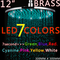 Rainfall Shower LED Shower With12 Inch Color Changing Shower Head Bathroom Shower Lights HG 5105RB