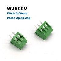 Ev Dekorasyonu'ten Terminal Blokları'de 5/10 adet Pitch 5.08mm Vidalı PCB Terminal Bloğu Bağlayıcısı Düz Pin 2 P 3 P WJ500V blokları konnektörler morsettiera 300 V 10A 2.5mm2