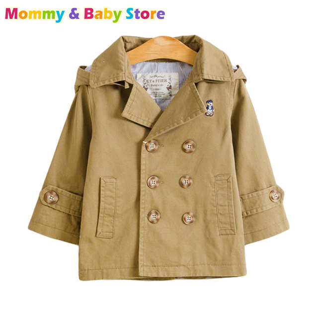 Boy Trench Coat Boy Spring Coat  Export to Euro Detachable Hooded Quality Very Good for 3-8 years old Brand Kids Boys Trench