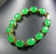 DYY 913+++ Yellow Gold Plate CHINESE Green Cabochon Bead Bracelet(China)