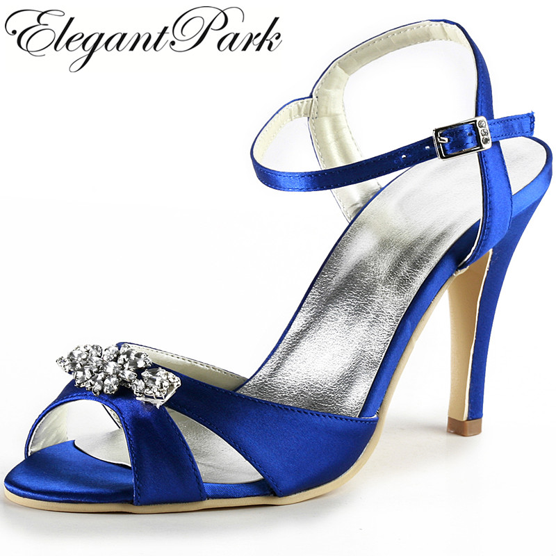 Woman Sandals EP2011 Blu Ankle Strappy Sandals High heel satin bridesmaids lady women wedding bridal shoes  evening prom pumps woman summer sandals blue wedding bridal med heel open toe rhinestones buckle satin lady bridesmaids prom evening shoes ep2127