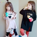 Girls Spring T-Shirt 2017 Long Sleeve Love Print Low Blouse Cotton Basic Tshirt Side Split Shirt Fashion Kids Girls Clothes L255