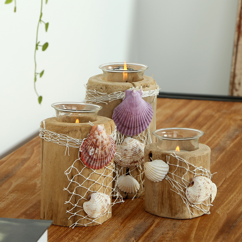 Handmade Sea Shell Wooden Candle Holders For Home Decor Natural Bars U0026  Wedding Table Decorations Candle Stand In Candle Holders From Home U0026 Garden  On ...