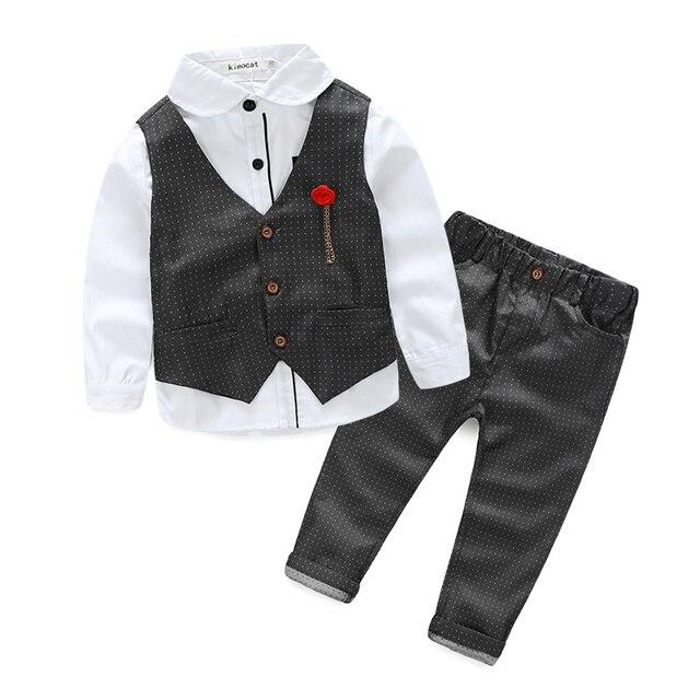 Мода 2017 новый мальчик джентльмен 3 шт./компл. ребенок мальчик одежда с длинным рукавом футболка + Жилет + брюки дети партия костюм высокого качества