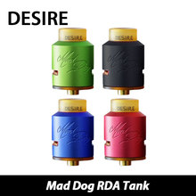 100% original desire mad dog tanque de goteo rebuildable atomizador rda flujo de aire lateral inferior con 2-post construir terraza e-cigarrillo
