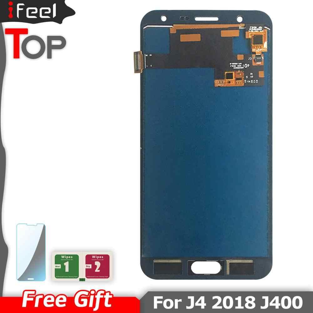 IFEEL شاشات Lcd عرض لسامسونج غالاكسي J4 2018 J400 J400F J400H J400G J400P J400M شاشة الكريستال السائل مجموعة المحولات الرقمية لشاشة تعمل بلمس