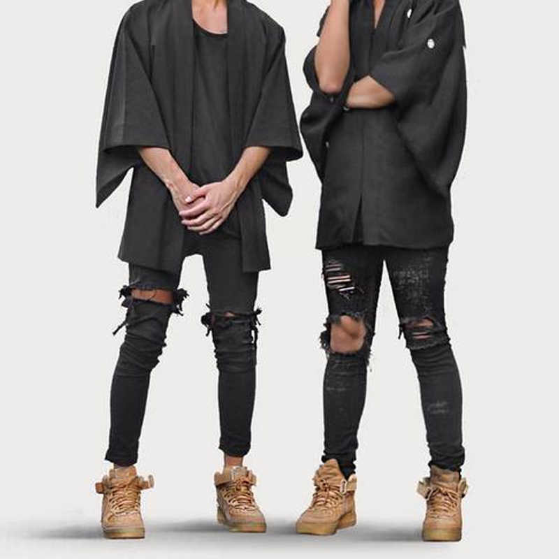 2017 Модные мужские джинсовые штаны, джинсы с рваными дырками, обтягивающие эластичные облегающие крутые длинные брюки в стиле панк NGD88