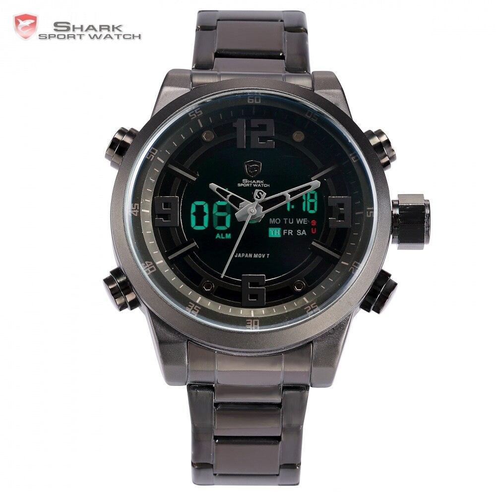 b2e918eda04 Frade Tubarão Relógio Do Esporte Marca de Moda Chrono Homens Relógio Relogio  masculino Militar Relógios Banda de Aço Digitais À Prova D  Água SH343 em  ...