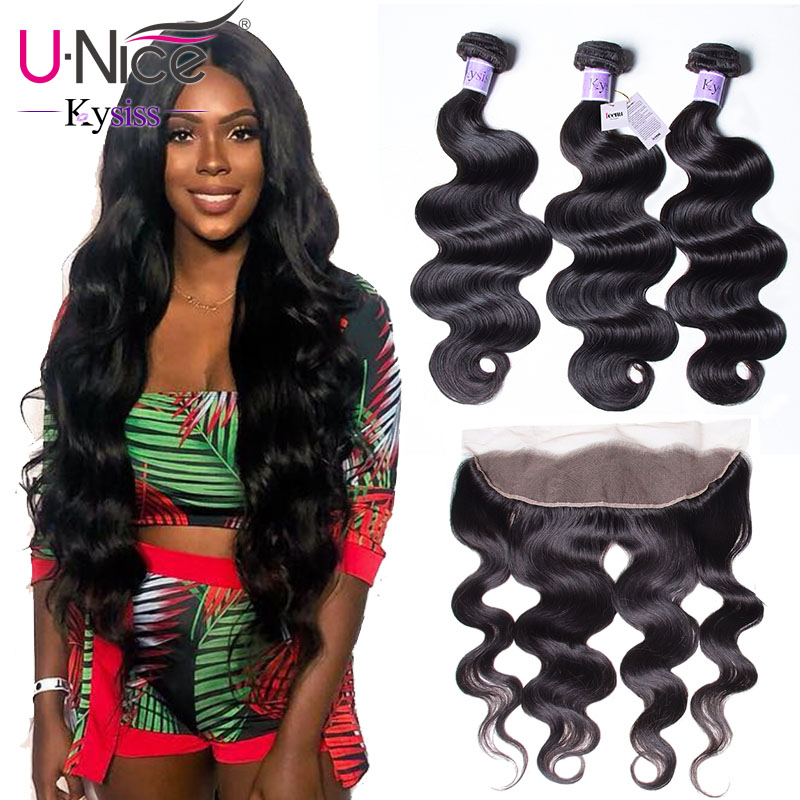 UNice Hair 8A Kysiss Series Brazilian Body Wave Lace Frontal Closure With Bundles 13x4 Human Virgin