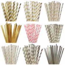 25pcs/lot Foil Gold/Silver Pink Paper Straws Mickey Mouse Cake Flags For Kids Birthday Wedding Decorative Party Event Supplies