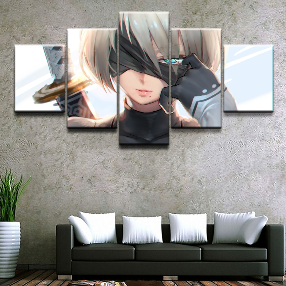 Canvas Paintings Living Room Bedroom Framework Wall Art 5 Pieces NieR Automata YoRHa No 2 Type B HD Print Poster Home Decor in Painting Calligraphy from Home Garden