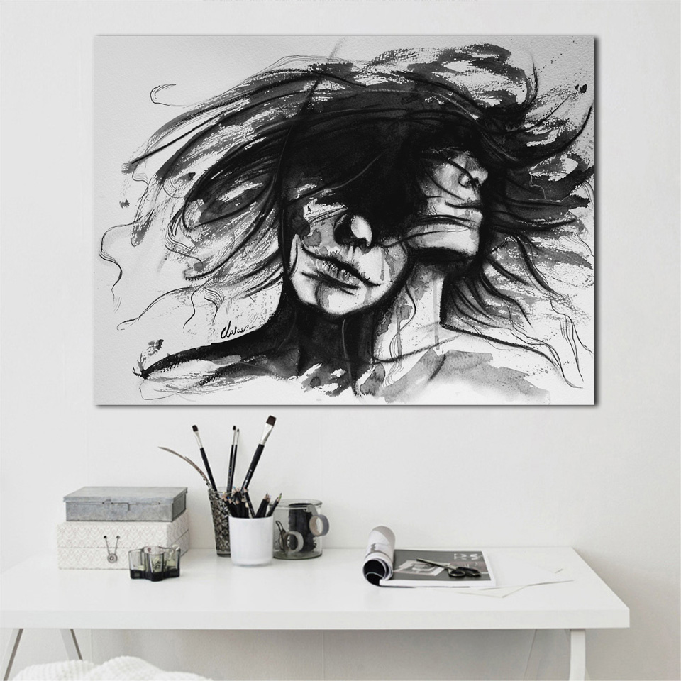 Abstract gir mood awesome black and white graffiti drawing living room home wall art decor wood frame fabric posters ex559 in painting calligraphy from