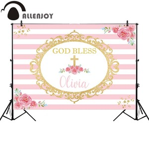 Image 2 - Allenjoy photography background pink communion birthday stripe gold frame flower backdrop Kid Event Party photocall photo studio