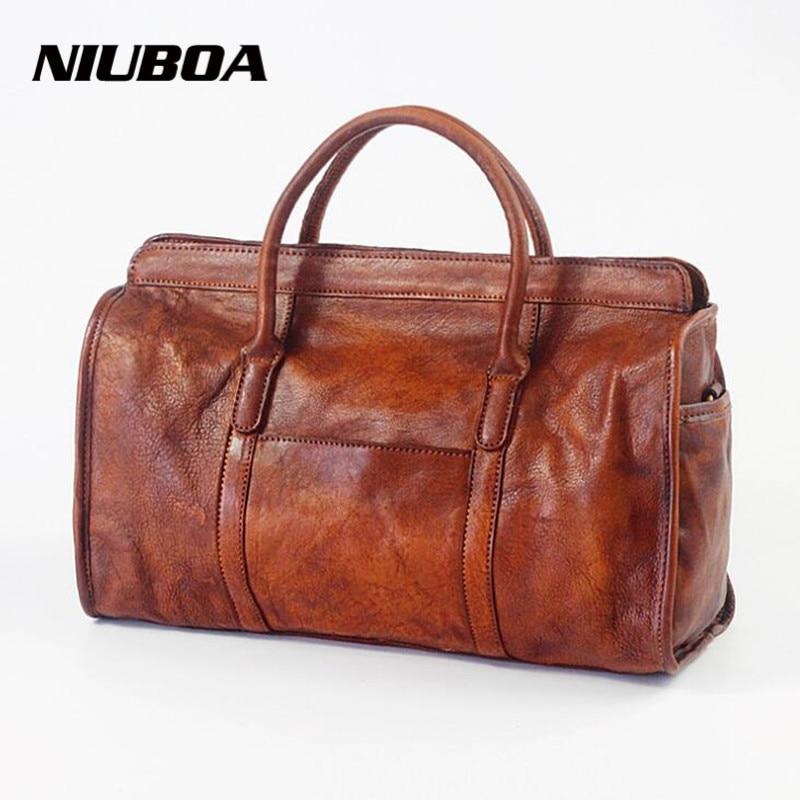 NIUBOA 100% Genuine Leather Bag Personal Design Vintage Brush Cowhide Women Shoulder Bag Female Big Travel Leather Messenger Bag niuboa bag female women s 100