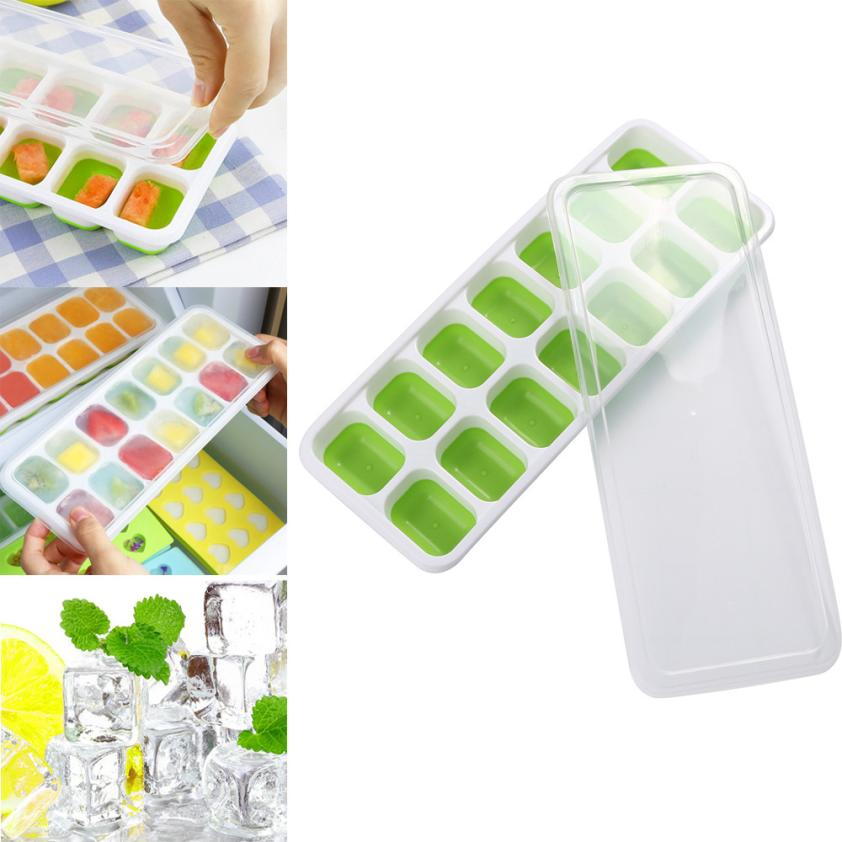 Bakeware Good 1pc Covered Ice Cube Tray Set With 14 Ice Cubes Molds Flexible Rubber Plastic Stackable Green 2o0319 Bright And Translucent In Appearance Baking & Pastry Tools