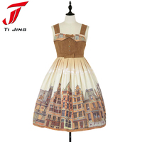 Japanese Preppy Cute Women S Party Dresses Print Princess Sweet Lolita Dress Sleeveless Strap Suspender Bows