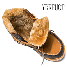 YRRFUOT 2019 Winter New Men Snow Boots High Quality Outdoor Waterproof Martin Boots Lace-up Non-slip Thick Bottom Warm Man Boots