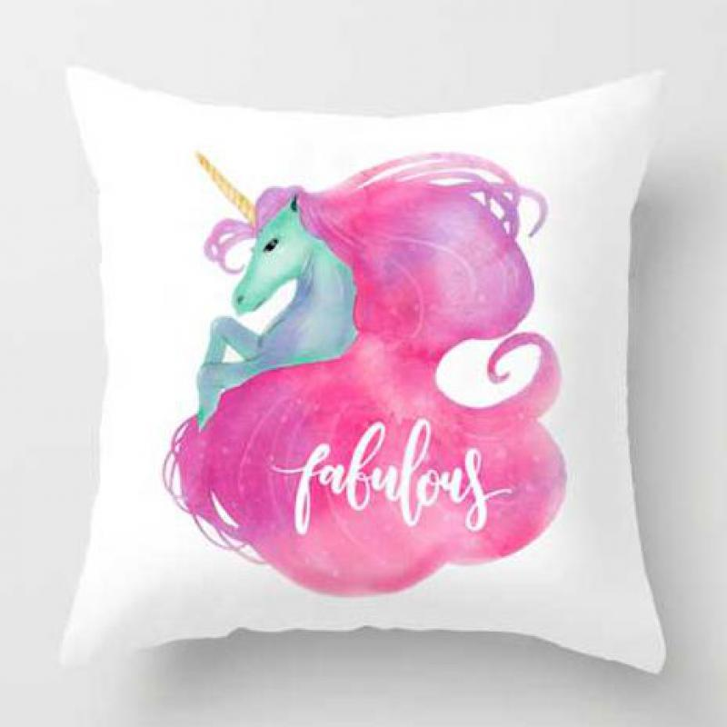 Cute Mini Unicorn Pillow Case Happy Birthday Party Decorations Flying Horse Horn Head Plush Cushion Cover For Children Gift