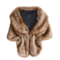 Bontkraag sjaal winter Mode Elegante Bruids Faux bont Lange Sjaal Stola Wrap Schouderophalen Sjaal voor vrouwen echarpe # JY110