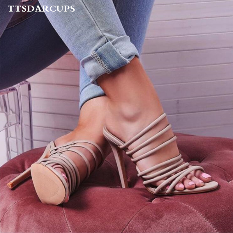 New Summer Women Shoes Sexy open toe ankle band Hollow high heeled slippers for ladies Large size 35 40 pumps nightclub in Slippers from Shoes