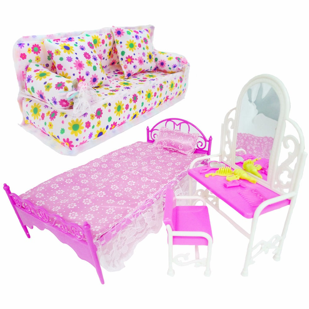 3 Items / Lot = 1x Pink Mini Doll Bed + 1x Fashion Dresser + 1x Family Bedroom Sofa Cushion Dollhouse Furniture For Barbie Doll