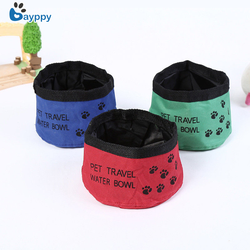 Portable Pet Dog Bowls Cat Collapsible Foldable Travel Camping Food Feeder Dish With Hook Oxford Fabric Dog Feeder For Pets Dogs