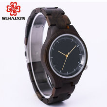 SIHAIXIN Personalized Women's Wood Watch With Retro Vintage Relogio Clock Woman Wooden Quartz Wristwatches Gift OEM Dropshipping