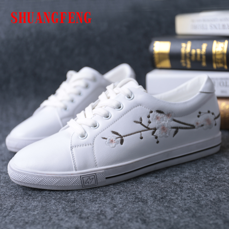 цена на SHUANGFENG Summer Women's Shoes 2018 New Hot Sale Fashion White Shoes Woman Genuine Leather Flats Women Sneakers Ladies Shoes