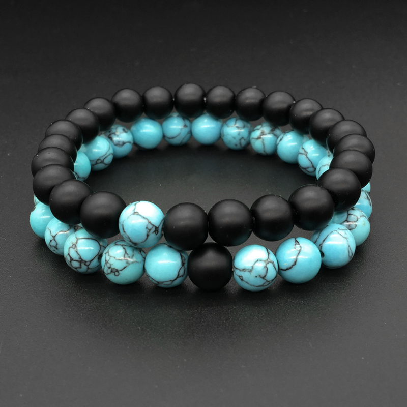 Popular Charm Bracelets 2: 2 Pcs/Set Black Blue Couple Distance Bracelet Charms Yoga