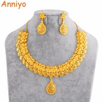 Anniyo African Jewelry Sets for Women Dubai Bride Wedding Gift Saudi Arabia India United Arab Emirates Gold Color Jewellery