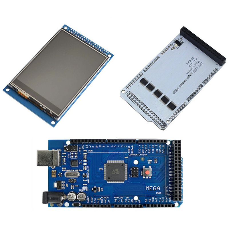 3.2inch TFT LCD Touch + TFT 3.2 Inch Shield + Mega 2560 R3 With Usb Cable For Arduino Kit