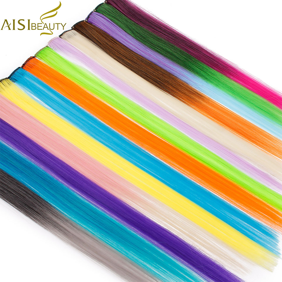 Single Clip In One Piece Hair Extensions 50cm Rainbow Colors Synthetic Long Straight Ombre Grey Blonde Red Hairpieces For Women