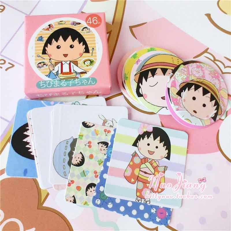 46 Pcs/box Kawaii Anime Cute Girl DIY Post it Scrapbooking Diary Sticker Planner Decorations Album Stick Label School Stationery
