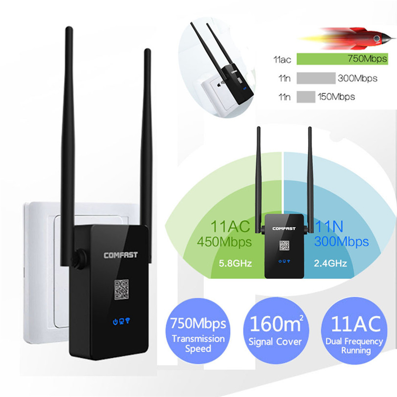 750Mbps Dual Band 2.4/5.8G Wireless Repeater 802.11AC Router WiFi Range Extender Jun1 Factory price 2017drop shipping 0606