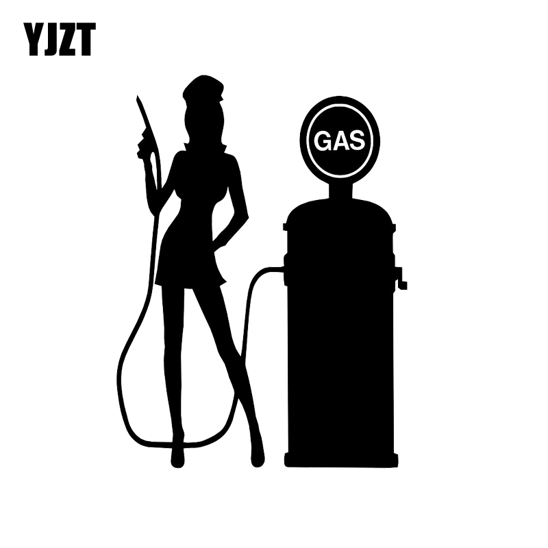 US $1 02 45% OFF|YJZT 10 2*14 2CM Gas Pump Decal, Sexy Girl Vinyl Car  Sticker Decal Vinyl Black Silver C20 0108-in Car Stickers from Automobiles  &