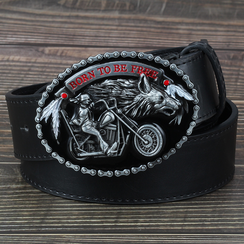 The motorcycle and the Wolf  belt buckle fashion decorative belt