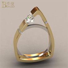 BOAKO Triangle Rings for Women Simple Geometric Zircon Crystal Gold and Silver Color Wedding Engagement Ring Party Jewelry