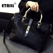 2017 Horsehair Leather Handbags Large Black Shoulder Bags Designer Famous Brand Crossbody Bags Lady Winter Bags for Women