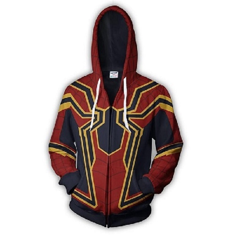 Superhero Infinity War Iron Spider Zip Up Hoodie Zipper Sweatshirt 3D Hoodies Sleeve Knitted Jackets Casual Sweatshirts Coats