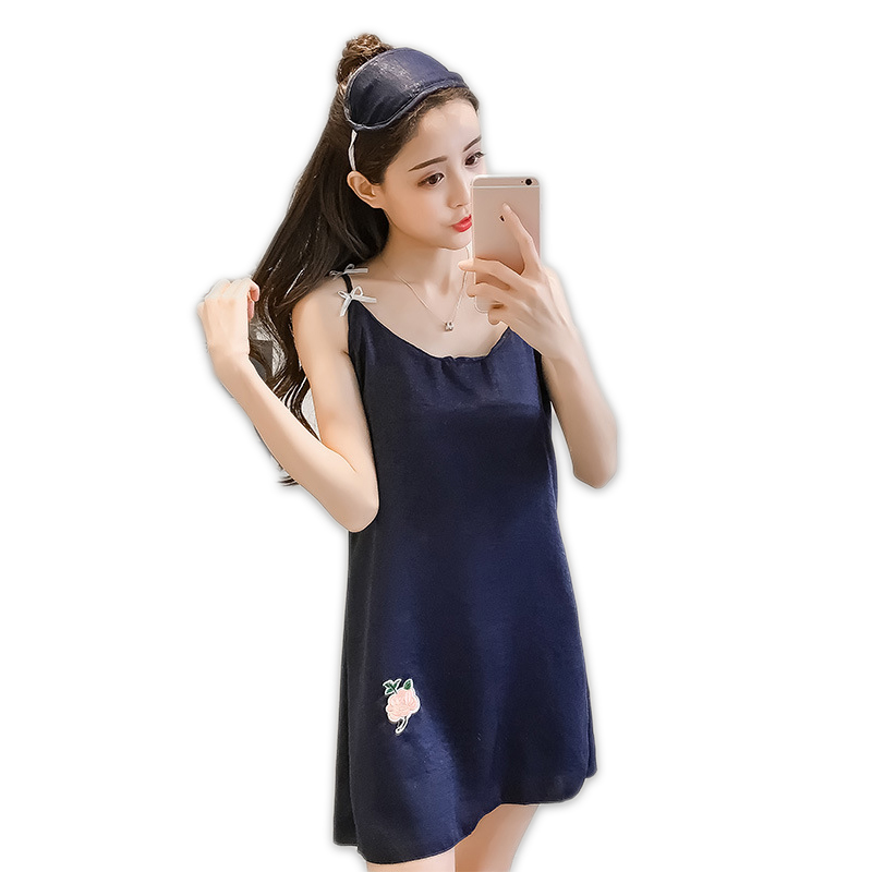 Navy blue sexy sleep dress women nighty sleepwear nightgowns spaghetti strap satin silk sexy v-neck women sleepdress night dress