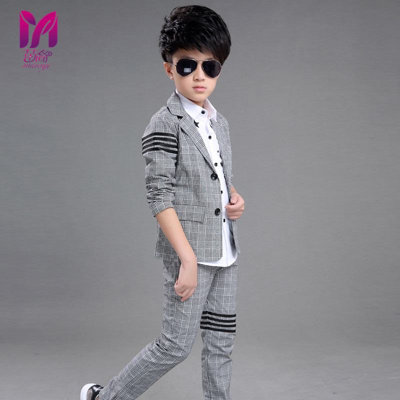 New children 's clothing children' s suits boys' lattice long - sleeved shirt trousers two - piece sets MIAO YI 2016 new children s clothing boys long sleeved t shirt large child bottoming shirt spring striped shirt tide