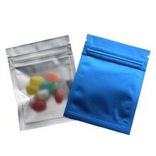 100pcs/lot Matte Surface Blue/Clear Front Zipper Top Mylar Pouch 7.5*10cm Heat Seal Aluminum Foil Ziplock Packaging Bags