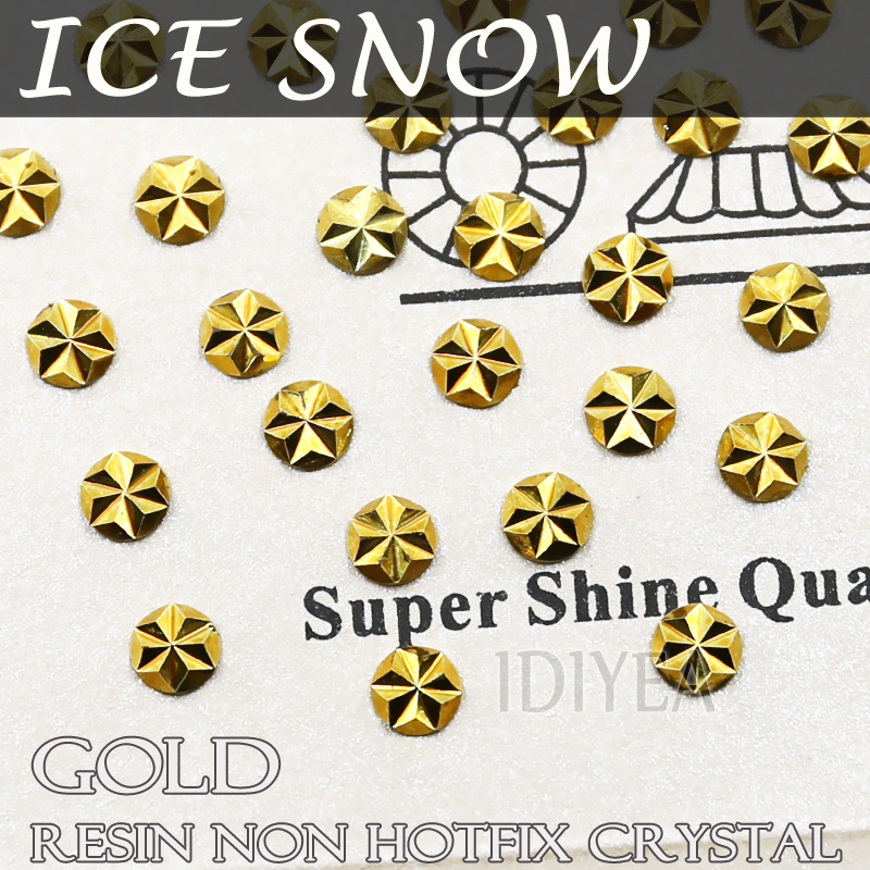 Beautiful ICE SNOW shape! SS16 SS20 4mm 5mm Gold Aurum Crystals Nail Art resin rhinestones Non Hotfix Flat back 3D DIY glitters