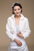 Free Shipping Women Winter Long Sleeve Cheap Ivory Bridal Jackets Warm Fur Boleros Wedding Shrug Stole